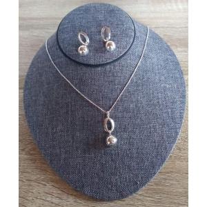 Juego Collar-Arete de plata