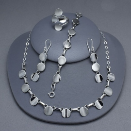 Set silver necklace, bracelet and ring