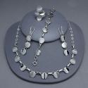 Juego collar, aretes, pulsera y anillo de plata
